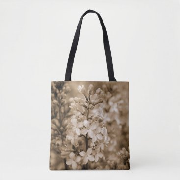 Beach Themed Floral Nature Photography Sepia Lilacs Tote Bag