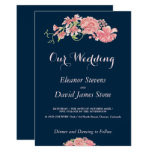 Floral navy and blush wedding editable script card