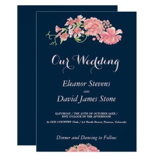Floral navy and blush wedding editable script card