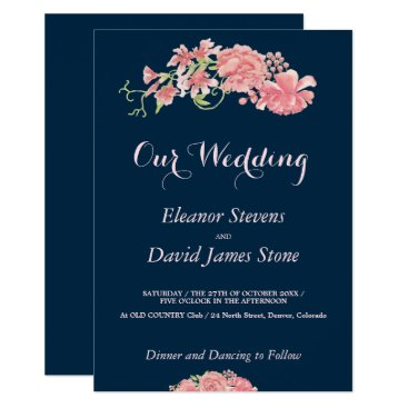 invitations_kits Floral navy and blush wedding editable script card