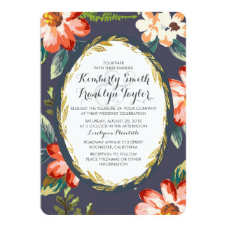 floral navy and gold vintage wedding card
