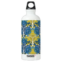 Floral Navy Blue and Yellow pattern Aluminum Water Bottle