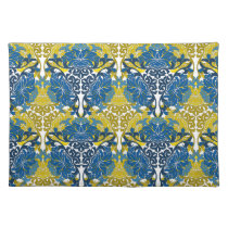 Floral Navy Blue and Yellow pattern Cloth Placemat