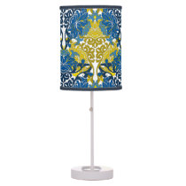 Floral Navy Blue and Yellow pattern Desk Lamp