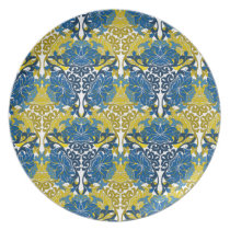 Floral Navy Blue and Yellow pattern Dinner Plate