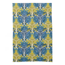 Floral Navy Blue and Yellow pattern Hand Towels