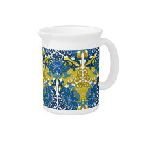 Floral Navy Blue and Yellow pattern Pitcher