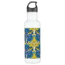 Floral Navy Blue and Yellow pattern Stainless Steel Water Bottle