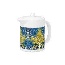 Floral Navy Blue and Yellow pattern Teapot