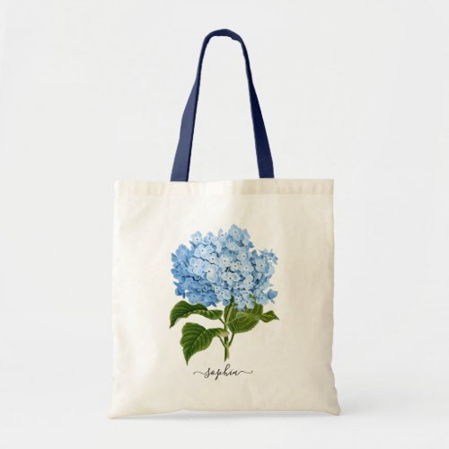 Floral Navy Blue Hydrangea Botanical Personalized Tote Bag