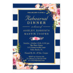 Floral Navy Blue Stripes Wedding Rehearsal Dinner Card