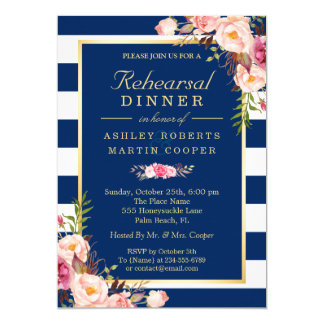 Floral Navy Blue Stripes Wedding Rehearsal Dinner Invitation