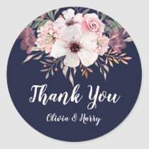 Floral Navy Blue Wedding Favor Round Sticker