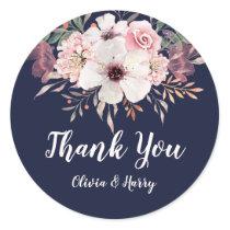 Floral Navy Blue Wedding Favor Round Sticker