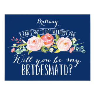 Floral Navy Bridesmaid Card