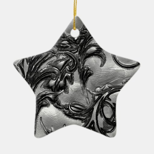 Floral negro adorno navideño de cerámica en forma de estrella