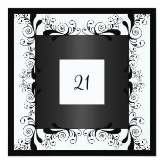 Floral negro blanco del encanto de la invitación