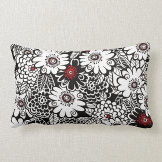 Floral negro blanco rojo