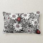 Floral negro/blanco/rojo almohadas