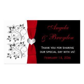 Floral negro, blanco, rojo, etiqueta del favor del tarjetas de visita