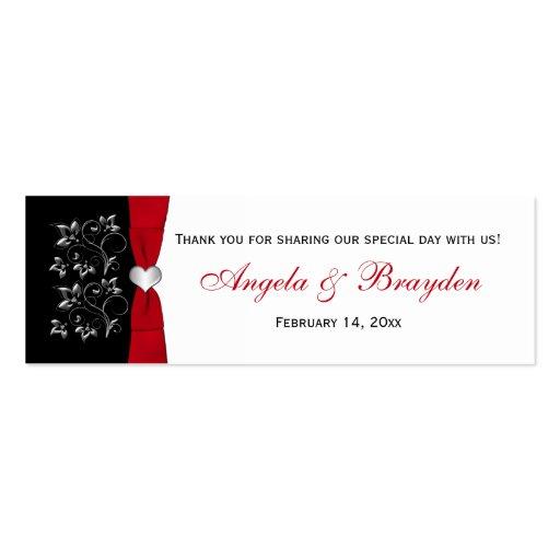 Floral negro, blanco, rojo, etiqueta del favor del tarjetas personales