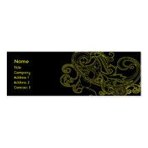 Floral negro - flaco tarjetas de visita