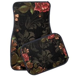 Floral negro grabada elegante alfombrilla de auto