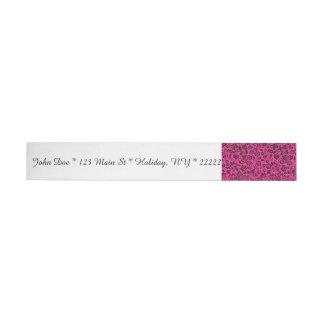 Floral negro reluciente en rosa brillante etiquetas envolventes de dirección