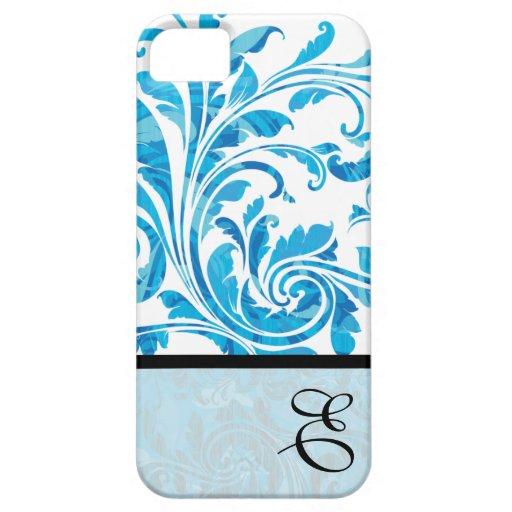 Floral negro y azul modificada para requisitos iPhone 5 carcasas