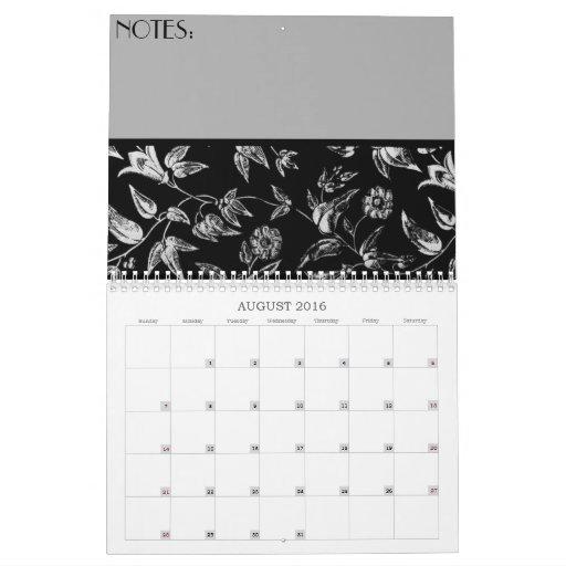 Floral negro y blanco calendario