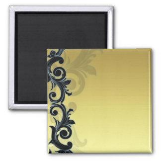 Floral negruzco en textura amarillenta imán para frigorifico
