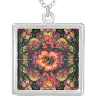 Floral Neovictorian Initial Pendant