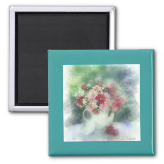 floral no paper 2 inch square magnet