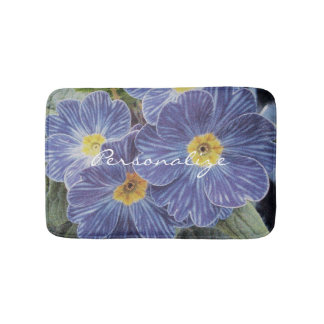 Floral non slip bath mat with blue flower photo
