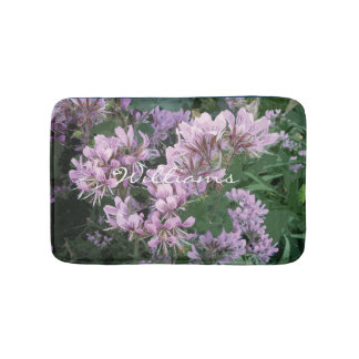 Floral non slip bath mat with pink flowers
