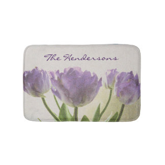 Floral non slip bath mat with purple tulip flowers