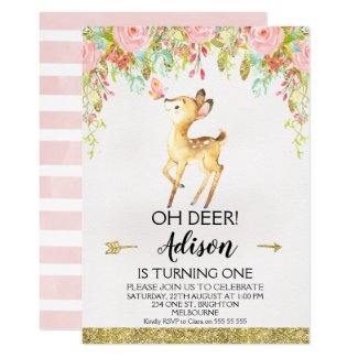 Floral Oh Deer Any Age Birthday Party Invitation