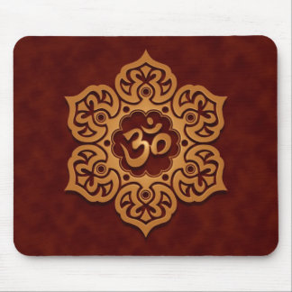 Floral Ohm Design (golden red) Mouse Pads