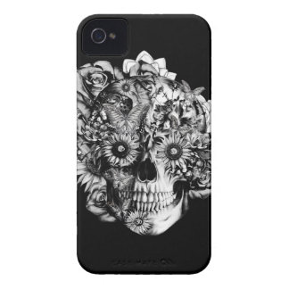 Floral Ohm Skull Illustration in black and white. iPhone 4 Case-Mate Cases