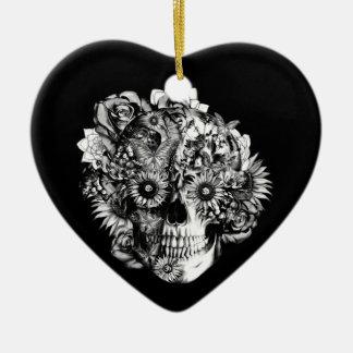 Floral Ohm Skull Illustration in black and white. Ceramic Ornament