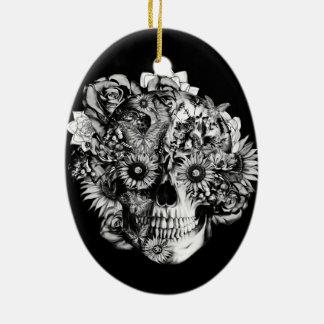 Floral ohm skull illustration in black/ white ceramic ornament