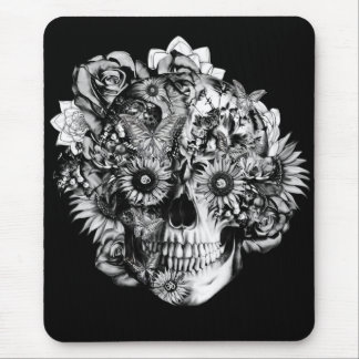 Floral ohm skull illustration in black/ white mouse pads