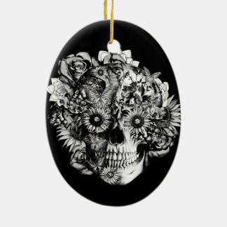 Floral ohm skull illustration in black/ white Double-Sided oval ceramic christmas ornament