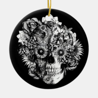 Floral ohm skull illustration in black/ white Double-Sided ceramic round christmas ornament