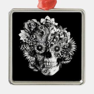 Floral ohm skull illustration in black/ white square metal christmas ornament