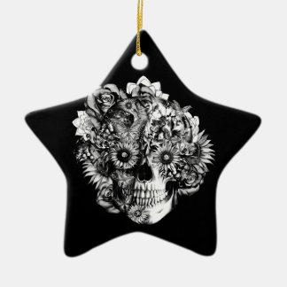 Floral ohm skull illustration in black/ white Double-Sided star ceramic christmas ornament