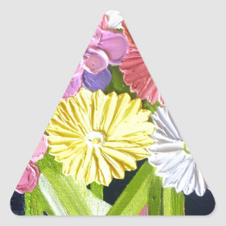 Floral Oil Painting #1 Triangle Sticker