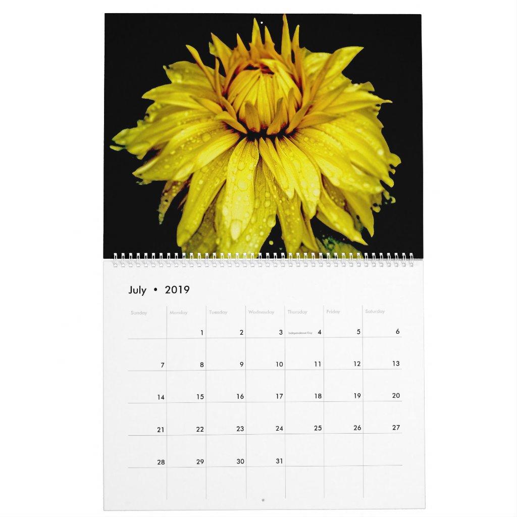 Floral On Black Calendar