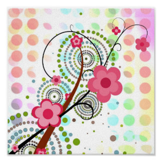 Floral on dots poster