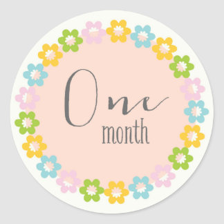 Floral One Month New Baby Sticker